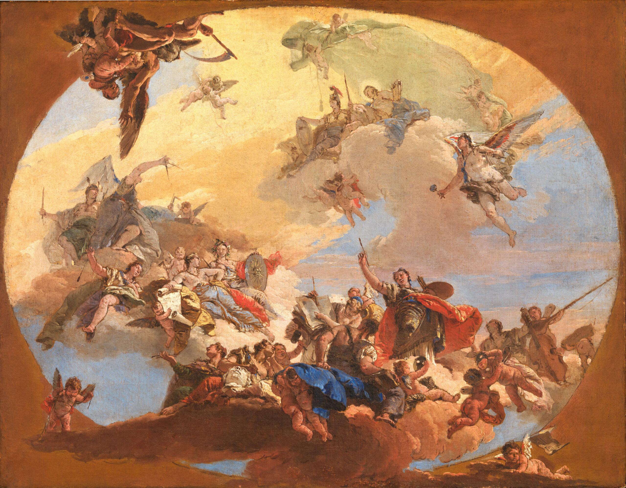 GB Tiepolo – Trionfo delle arti e delle scienze, 1730-1731, bozzetto per uno dei soffitti di Palazzo Archinto a Milano. Lisbona, Museo Nacional de Arte Antiga